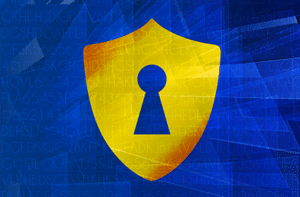 yellow shield with a lock in front of a blue background