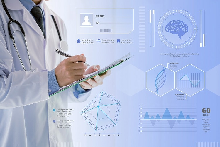 Doctor holding clipboard surrounded by digital graphs, and reports.